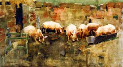 Joseph Crawhall - Pigs at a trough
